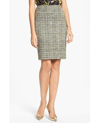 St. John Collection Layered Leaves Tweed Knit Pencil Skirt Caviar Chartreuse 10