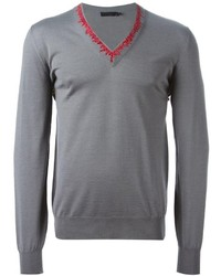 Alexander McQueen Embroidered V Neck Sweater