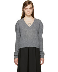 MCQ Alexander Ueen Grey Wool Cropped Sweater