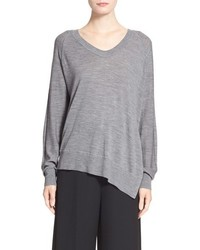 Alexander Wang Asymmetrical Merino Wool V Neck Sweater