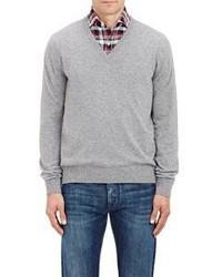 Barneys New York Cashmere V Neck Sweater Grey Size S