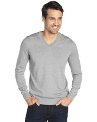 Hugo Boss Boss Grey Wool V Neck Sweater