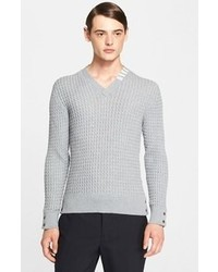 Thom Browne Cable Knit Wool V Neck Sweater