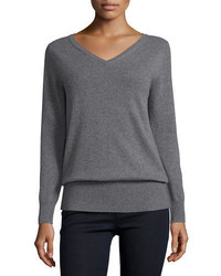 Neiman Marcus Cashmere Collection Long Sleeve V Neck Relaxed Fit Cashmere Sweater