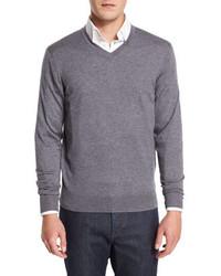 Neiman Marcus Cashmere Silk V Neck Sweater Derby Gray