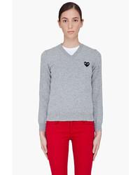 Comme des Garcons Comme Des Garons Play Grey Black Emblem Sweater