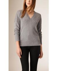Burberry Deep V Neck Cashmere Cotton Sweater