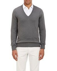 Drumohr Diamond Stitched V Neck Sweater Grey Size Extra Extra La