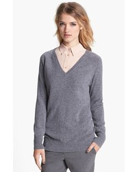 Equipment Asher V Neck Cashmere Sweater Heather Grey Medium