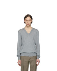 Maison Margiela Grey Elbow Patch V Neck Sweater