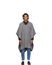 Off-White Grey Oversized Arrows Poncho