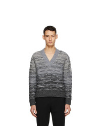 Sean Suen Grey Quilted V Neck Sweater