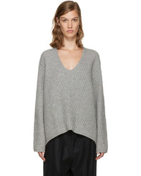Acne Studios Grey V Neck Deborah Sweater