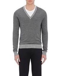 Tomas Maier Houndstooth V Neck Sweater Grey Size Xl