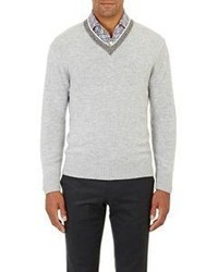 Inis Meain Tipped Stockinette Sweater Grey Size Na