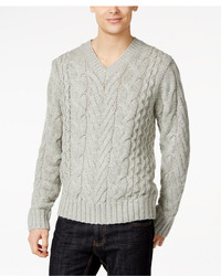 DKNY Jeans Lux Cable Knit V Neck Sweater