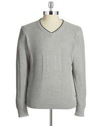 DKNY Jeans Waffled V Neck Sweater
