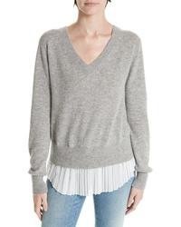 Brochu Walker Mix Media Wool Cashmere Sweater