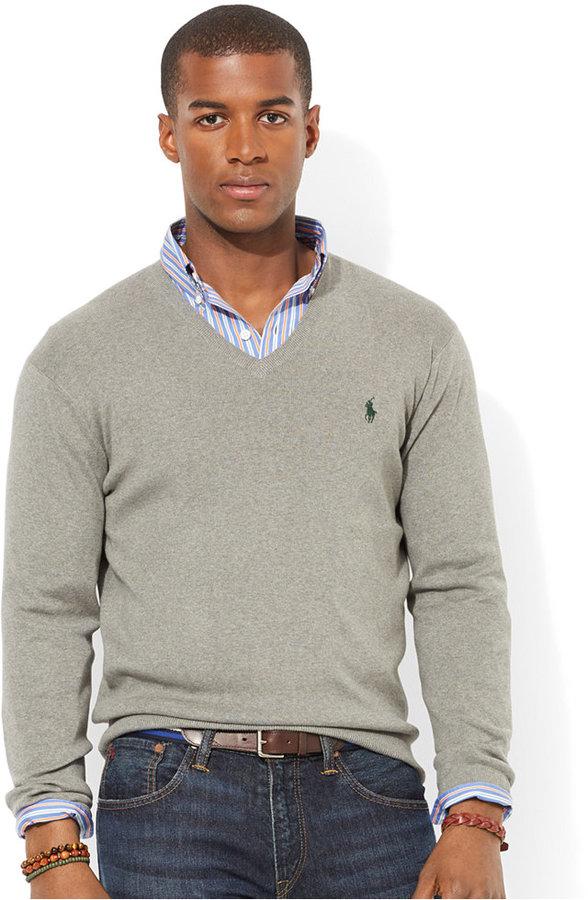 327d4ef1 Polo Ralph Lauren Pima Cotton V Neck Sweater, $98 | Macy's ...