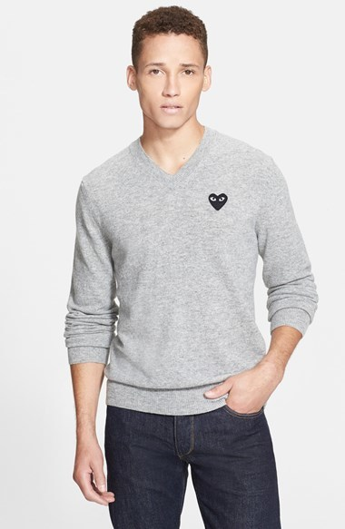 15285812a092 Comme des Garcons Play Wool V Neck Sweater With Heart Applique