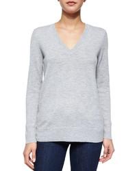 Rag and Bone Rag Bonejean Natalie Slub Knit V Neck Sweater Gray
