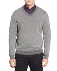 Nordstrom Shop Plaited Cashmere V Neck Sweater