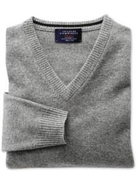 Charles Tyrwhitt Silver Grey Cashmere V Neck Sweater