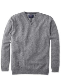 Charles Tyrwhitt Silver Grey Donegal V Neck Sweater