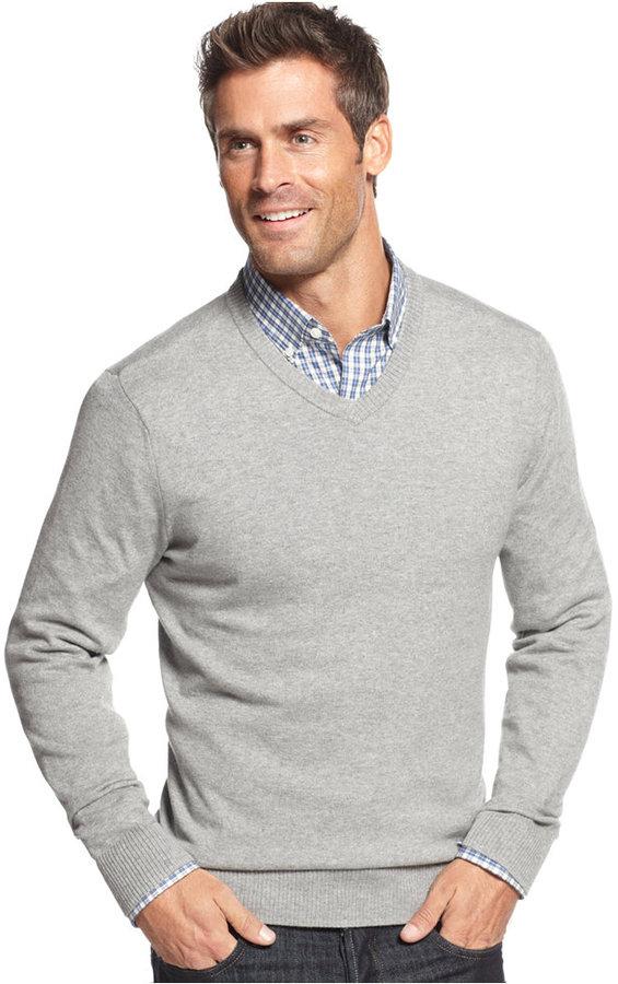 6ce70c5e8f7 John Ashford Solid Long Sleeve V Neck Sweater, $50 | Macy's ...