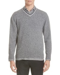 Z Zegna Trim Fit V Neck Wool Cashmere Sweater