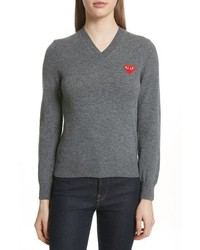 Comme Des Garcons Play Wool V Neck Sweater