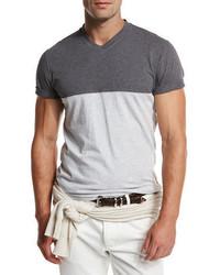 Brunello Cucinelli Colorblock V Neck T Shirt