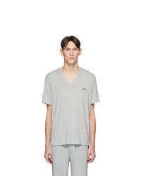 BOSS Grey Jersey V Neck T Shirt