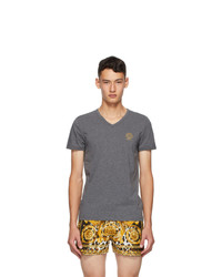 Versace Underwear Grey Medusa V Neck T Shirt