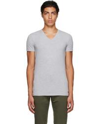 Ermenegildo Zegna Grey Stretch Cotton V Neck T Shirt