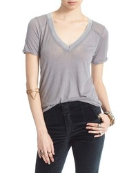 Free People Pearls Raw Edge V Neck Tee