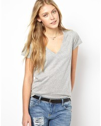 Asos T Shirt With V Neck Grey