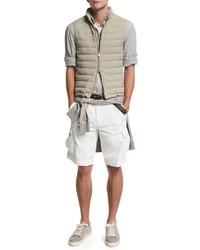 Brunello Cucinelli V Neck Short Sleeve T Shirt Fog