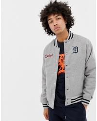 New Era Mlb Detroit Tigers Jacket In Grey