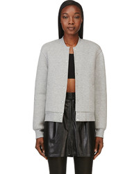 Alexander Wang T By Heather Grey Neoprene Varsity Jacket