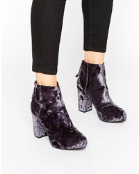 Office Annie Gray Velvet Heeled Ankle Boots