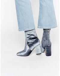 Truffle Collection Truffle Gray Velvet High Ankle Boot