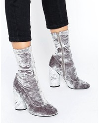 Boohoo Velvet High Ankle Heeled Boot