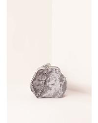 Missguided Chain Handle Velvet Clutch Bag Grey