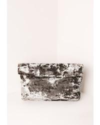 Missguided Velvet Roll Top Clutch Bag Grey