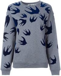 Grey Velvet Crew-neck Sweater