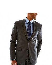 Claiborne Pinstriped Slim Fit Wool Suit Jacket