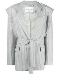 Hebe Studio Striped Belted Blazer