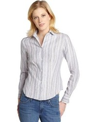 White and thin grey stripe linen blouse medium 104237
