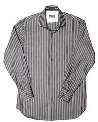 Italian stripe grey chambray in spread collar medium 321651